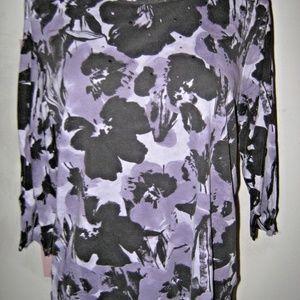 Purple Black Rivets Abstract Stretch Knit Shirt 1X